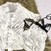 YUKO Sexy Lingerie Silk Lace Daster + Kimono Robe G String WHITE Putih