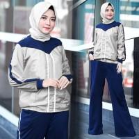 Micci Fashion Baju Dan Kulot Wanita Muslim Fendi - Abu Navy