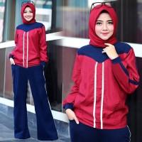 Micci Fashion Baju Dan Kulot Wanita Muslim Fendi - Maroon Navy
