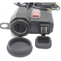 USB Charger Motor 2 Port dgn Socket Lighter Pasang di Spion Waterproof