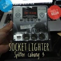 Triple Socket Lighter Splitter Pemantik Cabang 3 Plus USB Chager