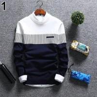 Terlaris Baju pria sweater rajut lengan panjang zico navy GBK
