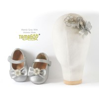 Sepatu Bayi Antislip With Headband Mandy Silver Tamagoo Babyshoes