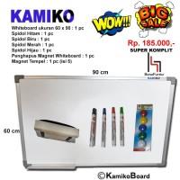 Whiteboard Kamiko 60 x 90 Spidol H,B,HJ, M, Hapus magnet, Magnet