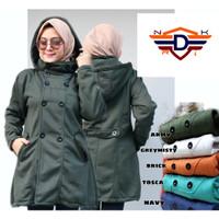 Jaket Korea Hoddie Army & GreyMisty XL / Mantel Korea / Coat Korea
