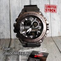 Jam tangan digital pria G SHOCK Metal Pala Besi Hitam army dual time