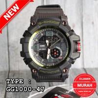 Jam tangan pria dual time digital G SHOCK GG-1000 Hitam hijau Army