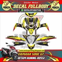 STICKER MOTOR FULL BODY YAMAHA SOUL GT HITAM KUNING ROSSI
