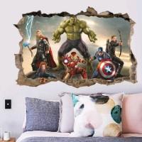 Stiker Dinding / Stiker Kaca / Wall Sticker (Avengers Menjebol Tembok)