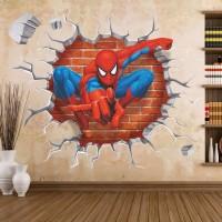 Stiker Dinding / Stiker Kaca / Wall Sticker (Spiderman Jebol Tembok)