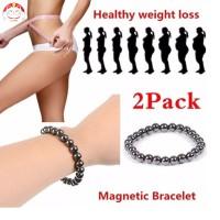 2 Pcs Unisex Simple Magnetic Hematite Bracelet Black Weight Loss