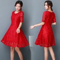 Dress Midi Casual Bahan Lace Warna Merah Hitam Biru untuk Wanita Musim