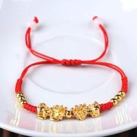 Gelang Lucky Red Bracelet Double Golden Pria Wanita