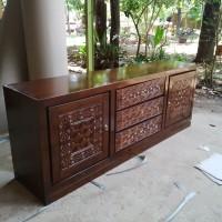 tempat tv buffet, cabinet 2m natural minimalis jati ukir jepara