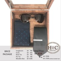 Groomsmen box bestman cufflinks dasi wedding bowtie suspender BRICE