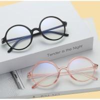 Kacamata Anti Radiasi Bulat Fashion Korea Blue Lens Wanita Pria Nyaman