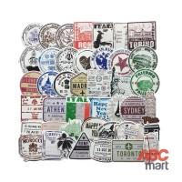 60 pcs stiker Koper Laptop Rimowa - Luggage Sticker Retro Waterproof