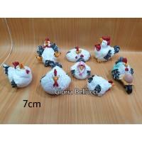 patung pajangan ayam lucu 8 miniatur chicken family