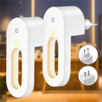New 2pcs LED Light Sensor Night Lamp Socket Wall Plug-in Child