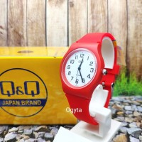 Q&Q QQ QnQ Jam Tangan Wanita Anak-Anak Karet Merah CP02J804Y Original