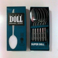 Sendok Makan SUPER DOLL Dessert Spoon Stainless Steel Isi 6 Pcs