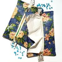 FLOWERS BLUE Cover Tissue Travel Bunga Biru Tempat Tisu Gift Souvenir