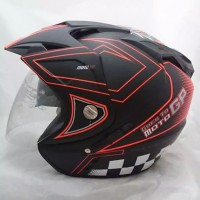 Helm motor SNI DMN 2 kaca double visor moto GP black doff orange