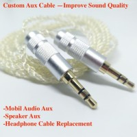DIY Kabel M2M Silver Plated AUX Cable 3.5mm Male to Male 1M - Silver