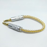 High End 8 Braid Silver Plated M2M Aux Cable 10cm Hifi Audio Solution