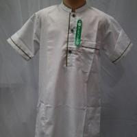 Baju Koko Jubah Gamis Muslim Anak Laki - laki Lengan Pendek Putih