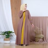 Z Hana warna coklat gamis maxi dress fashion wanita muslimah cantik
