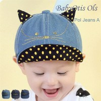 Polkadot Jeans Baby Hat Topi Anak Bayi Lucu Karakter Baseball