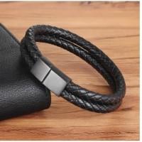 Genuine Leather Bracelet Titanium Steel Gelang Kulit Asli Pria 035