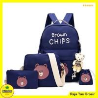 Tas Ransel / Backpack Brown chips set 4 in 1 Navy