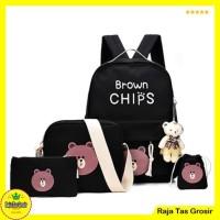 Tas Ransel / Backpack Brown chips set 4 in 1 Hitam