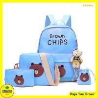 Tas Ransel / Backpack Brown chips set 4 in 1 Biru