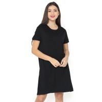 LEMONE Rayon Spandex Premium Dress Wanita 710ps Polos Hitam