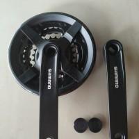 Crank gear gir tengah Shimano sepeda MTB 3 susun 24 34 42 T with cover