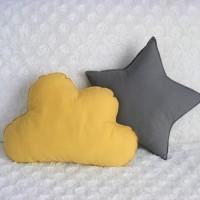 bantal bintang awan paket 2pcs grey yellow