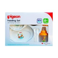 Pigeon feeding set with training cup system