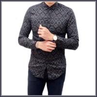 Kemeja Batik Songket Pria Slim Fit Panjang Abu - Premium Quality