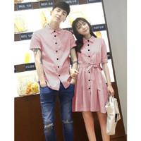 DRESS PASANGAN/DRESS COUPLE/BAJU COUPLE KEMEJA SALUR MURAH KOREA