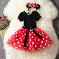 baju anak perempuan/baju pesta dress Minnie mouse set bando Minnie mou