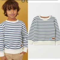 H&M sweatshirt white stripes anak laki laki branded murah
