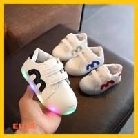 Sepatu Bayi Anak Laki Dan Perempuan Bahan Breathable LED Warna Warni - 22, Biru
