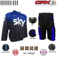 Paket Baju Jersey Kaos Sepeda Plus Celana Padding - Biru, Xl