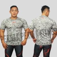 kaos baju gym fitness compression workout motif bercak dublin
