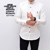Kemeja Pria Lengan Panjang Formal Katun Premium Baju Putih Polos - Putih, M