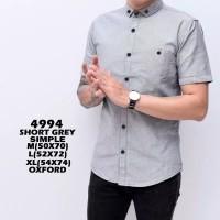 Kemeja Pria Lengan Pendek Slim Fit Baju Kantor Formal Casual Original - Grey, M