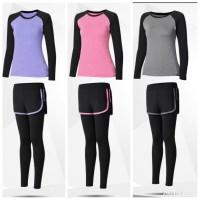 Pakaian Olahraga Wanita Baju Yoga Gym Paket 2in1 Set Lengan Panjang